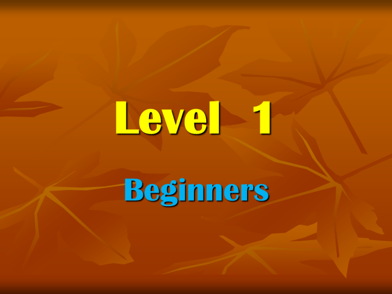 Level 1 beginners