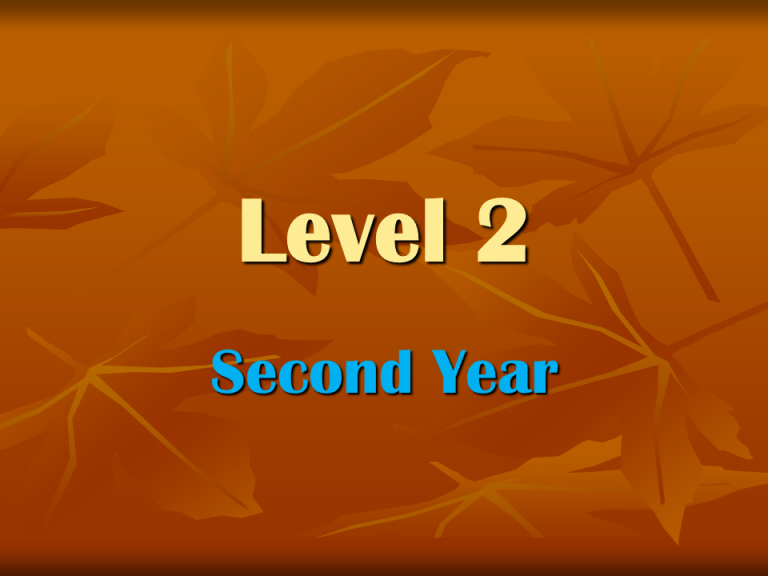 Level 2 second year
